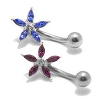Apró virág alakú lila köves orvosi acélból készült piercing