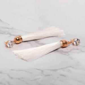 Hosszú üvegkristályos cérna fülbevaló fehér