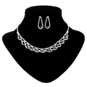 Strasszköves női ezüst szinű nyaklánc, fülbevaló szett