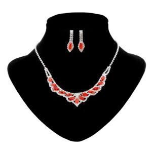 Strasszköves női piros szinű nyaklánc, fülbevaló szett