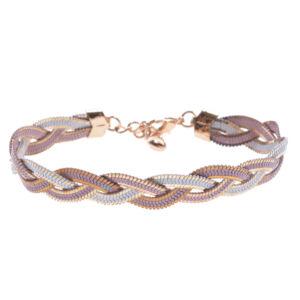 Rózsaszín fonott női fémkarkötő