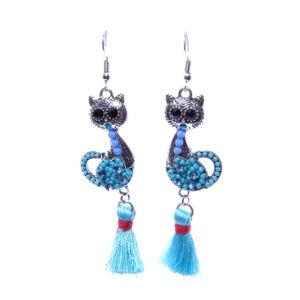 Női kék cicás fülbevaló cérna díszítéssel