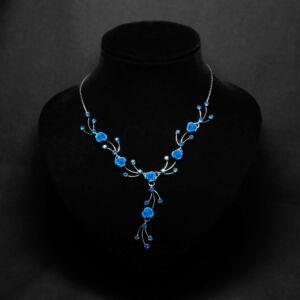 Kék virágos női nyaklánc fülbevaló szett