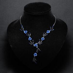 Sötét kék virágos női nyaklánc fülbevaló szett
