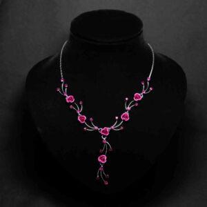 Rózsaszín virágos női nyaklánc fülbevaló szett