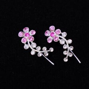 Rózsaszín virág alakú,rozsdamentes acél női fülbevaló