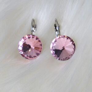 Világos rózsaszín csiszolt üveg női fülbevaló