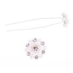 Női Ezüstszínű Virág alakú Fehér Műanyag Gyöngyös Hajtű