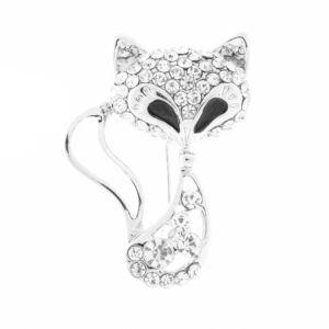 Ezüst színű cica bross strasszkövekkel