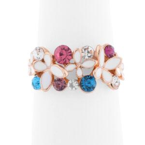 Női arany színű színes mintás strasszköves gyűrű