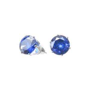 Női Kék Strasszos Ezüst Színű Fülbevaló