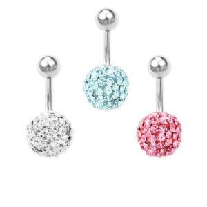 Rózsaszín kristályos gömb orvosi acél piercing