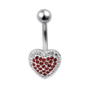Szív alakú strasszos piros orvosi acélból készült piercing