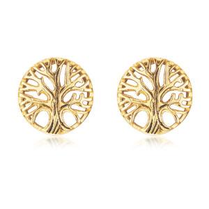 Apró Fa alakú arany színű rozsdamentes acélból készült fülbevaló