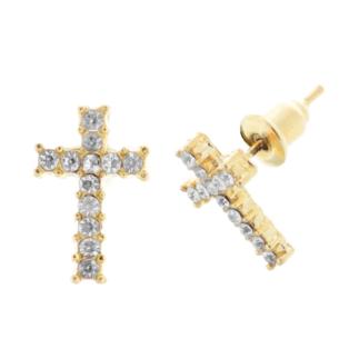 Női Aranyszínű Strasszköves Kereszt Fülbevaló