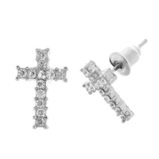 Női Ezüstszínű Strasszköves Kereszt Fülbevaló