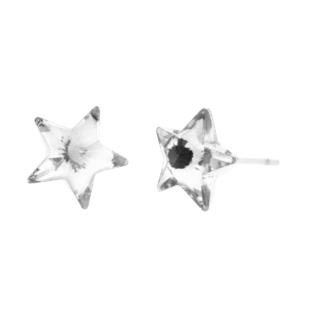 Női Ezüstszínű Fülbevaló Fehér Műanyag Csillag Alakú Strasszkővel