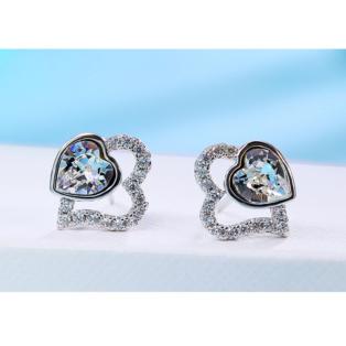 Xuping Ezüstösen csillogó strasszal díszített rozsdamentes acélból készült fülbevaló