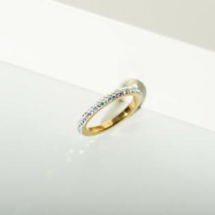 Színváltós Csillogó Strasszkövekkel Díszített Vékony Gyűrű