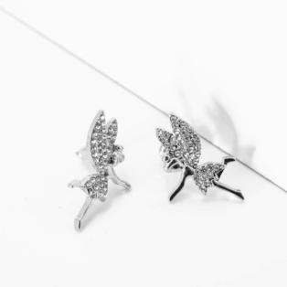 Strasszkövekkel Díszített Tündér Formájú Ezüst Színű Fülbevaló