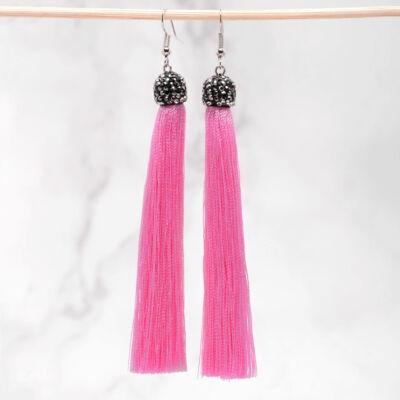 Hosszú strasszköves cérna fülbevaló rózsaszín