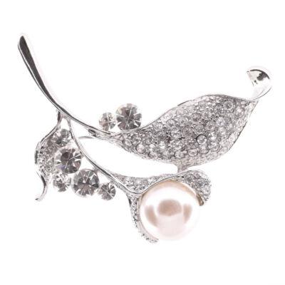 Ezüst színű virágos bross