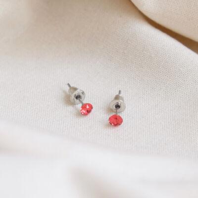 Piros swarovski köves női fülbevaló