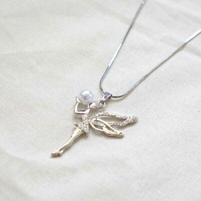 Ezüstözött női nyaklánc,tündéres medállal