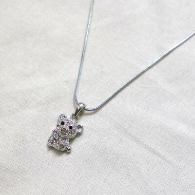 Ezüst színű női köves nyaklánc,medvés medállal