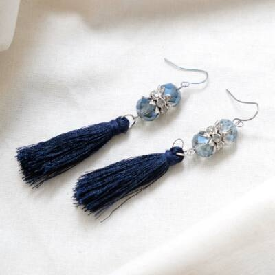 Kék színű női cérna fülbevaló