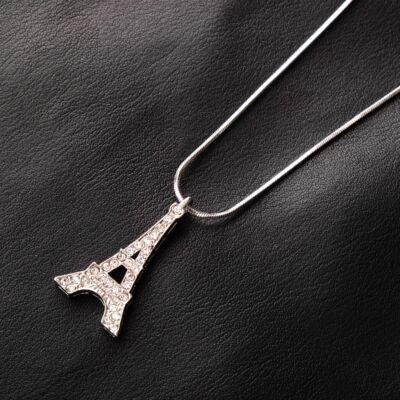 Ezüstszínű női nyaklánc Eiffel-tornyos medállal