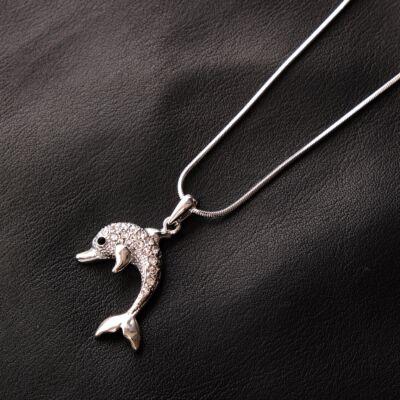 Ezüstözött női fémnyaklánc,delfines medállal