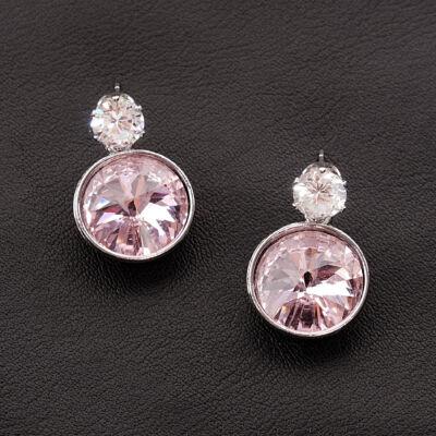 Világos rózsaszín női üvegkristály fülbevaló