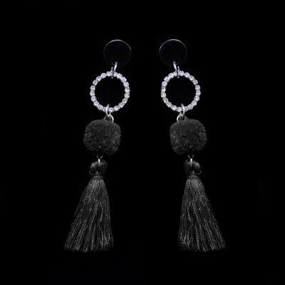 Fekete Női Pompomos Fülbevaló