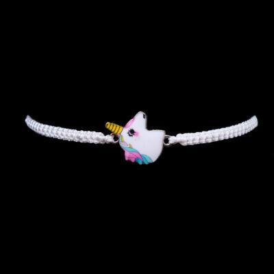Fehér női fonott unikornis mintás karkötő