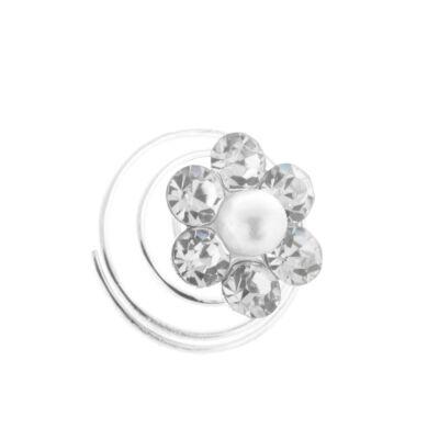 Ezüst színű virágos spirálos hajtű gyöngy és strasszkő díszitéssel