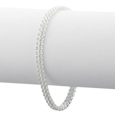 Strasszköves női ezüst színű karkötő
