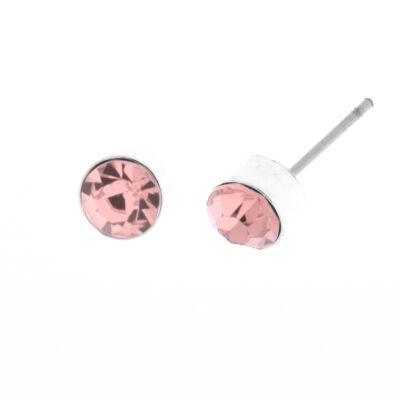 Női Ezüstszínű Fülbevaló Rózsaszín Műanyag Strasszkővel