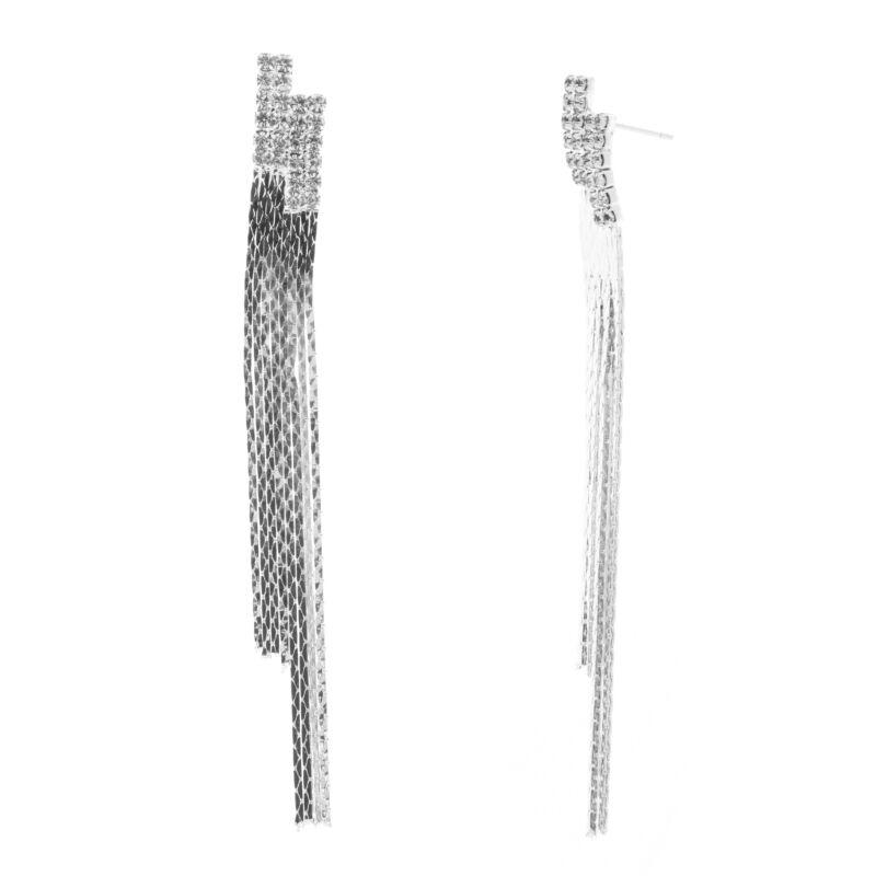 új, kiváló minőségű keres felső divat Női Ezüstszínű Strasszköves Hosszú Lógós Fülbevaló - LÓGÓS ...